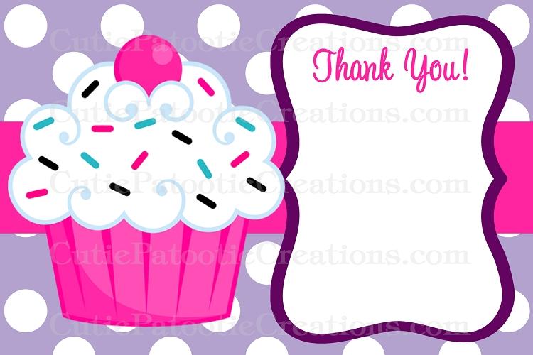 Handmade Cupcake Card with Matching Cupcake Gift Tag  Birthday Thankyou Card