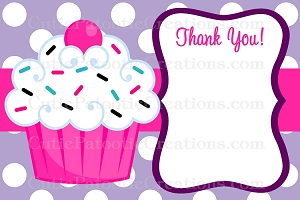 Cupcake Thank You Cards - Printable or Printed