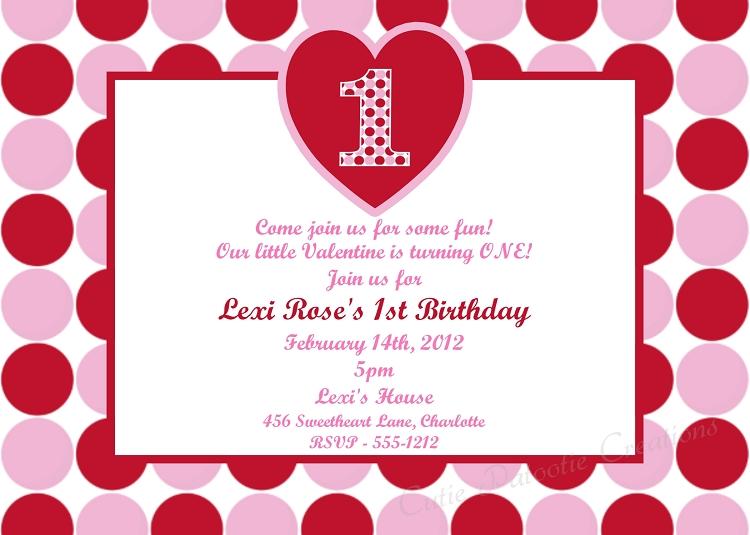 Valentines Day 1st Birthday Invitations