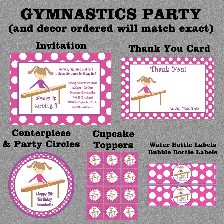 Gymnastics Birthday Invitation Printable Digital Party Invite