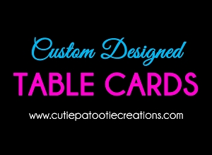 Custom designed Table Number Cards