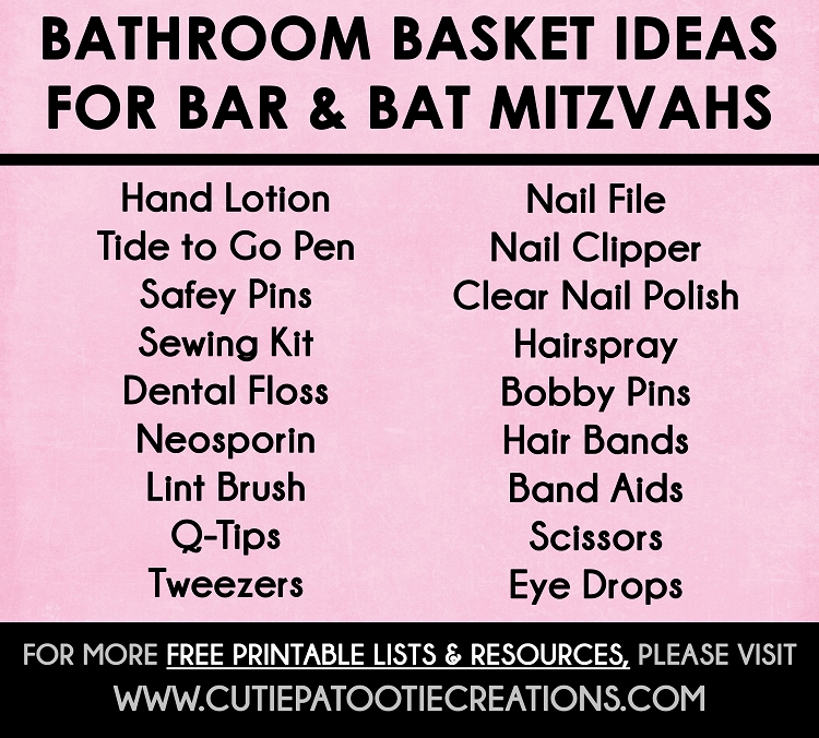 photo regarding Printable Quinceanera Checklist called Toilet Basket Guidelines for Bat and Bat Mitzvahs - Free of charge