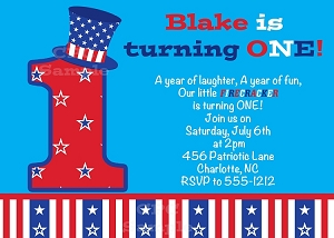 July 4th Birthday Invitations - Use for Any Age