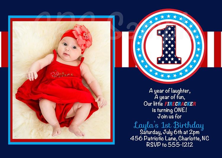 4th Of July 1st Birthday Invitations