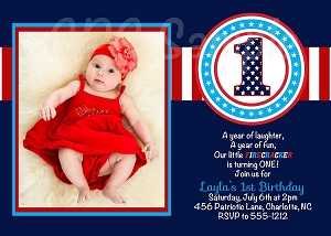 4th of July 1st Birthday Invitations - ANY AGE