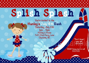 July 4th Pool Party Birthday Invitation