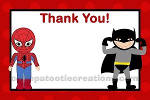 Superhero Batman Spiderman Thank You Note Cards