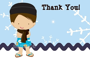 Indoor Winter Pool Party Thank You Cards for Boy or Girl
