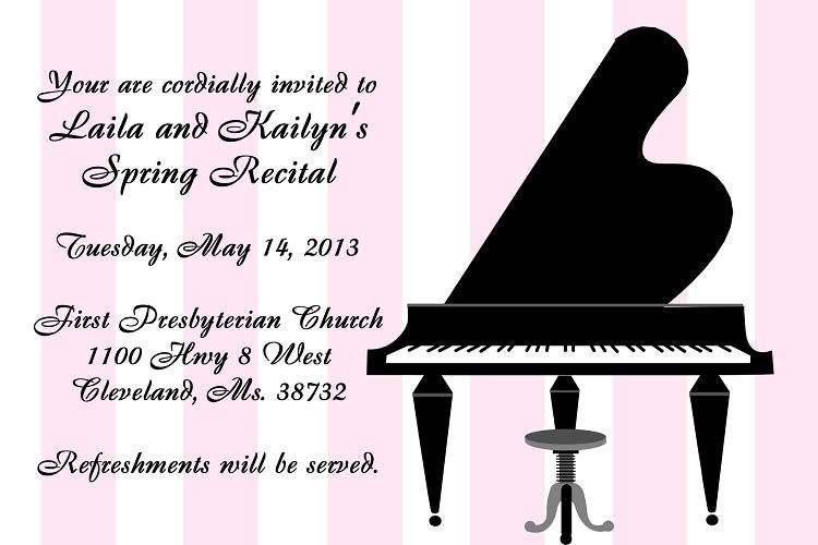 piano recital invitations dueling black baby grand piano music