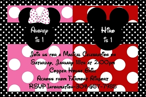 Mouse Ears Birthday Invitation For Twins Or Siblings