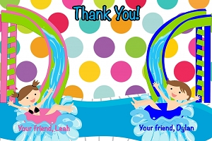 Boy Girl Pool Party Thank You Note Cards - Printable or Printed