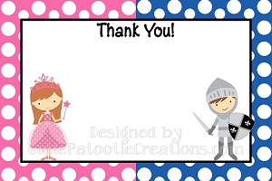 Princess Knight Thank You Cards