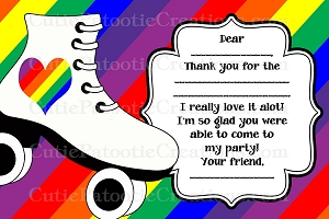 Rollerskating Roller Skate Thank You Cards - Printable or Printed