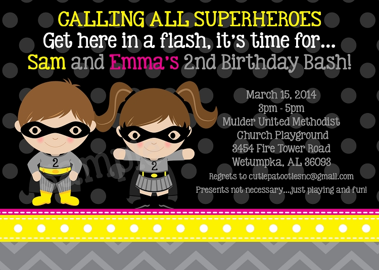 Batman And Batgirl Birthday Invitations