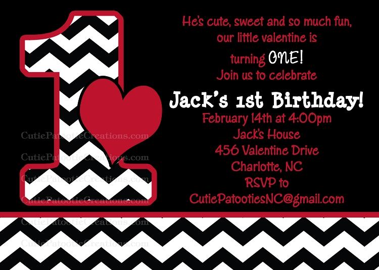 Black White Red Chevron Valentines Day Birthday Party Invitations
