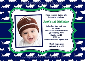 Shark Invitation - Shark Birthday - Pool Party