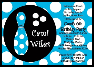 Blue Polka Dot Bowling Birthday Invitations