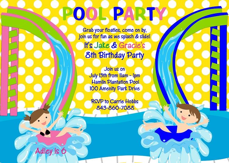 Water Park Birthday Invitations
