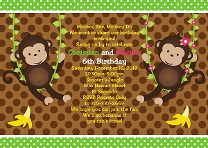 Twin Monkey Birthday Invitations | Animal Invitations - Printable or Printed