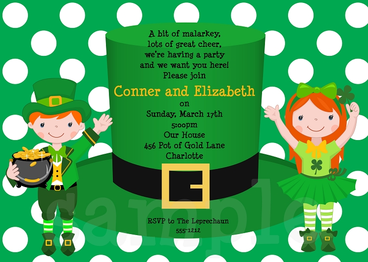 st patricks day hat party invitations for twins