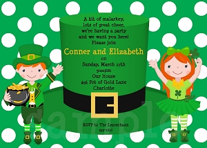 St. Patricks Day Hat Party Invitations for Twins