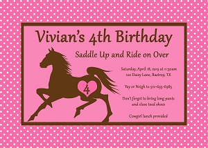 Horseback Riding Birthday Invitations