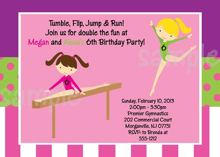 Girls Gymnastics Birthday Party Invitations Or Invites