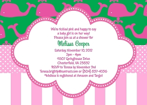 Green and Pink Preppy Whale | Under the Sea Party Invitations - Printable or Printed