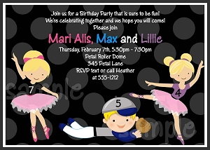 Twins and Siblings Baseball and Ballerina Sports Invitations - Printable or Printed