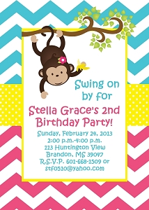 Chevron Monkey Baby Shower Invitations