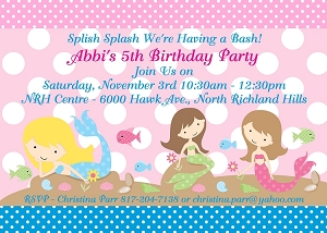 Mermaid Birthday Party Invitations - Printable or Printed