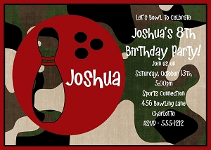 Green Camouflage Bowling Birthday Invitations