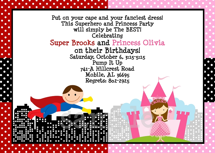 photo regarding Printable Superhero Invitations called Princess and Superhero Birthday Celebration Invites - Printable