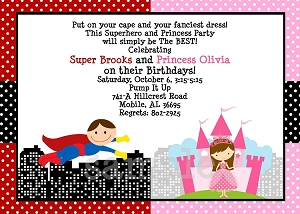 Princess and Superhero Birthday Party Invitations - Printable or Printed