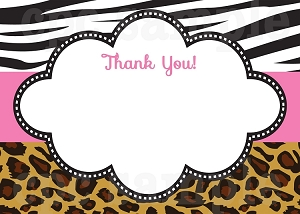 Leopard Zebra Print Thank You Cards