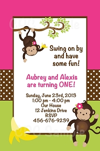 Twins and Sibling Lime Green & Pink Monkey Invitations - Printable or Printed