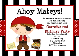 Pirate Birthday Invitations for Boys - Printable or Printed