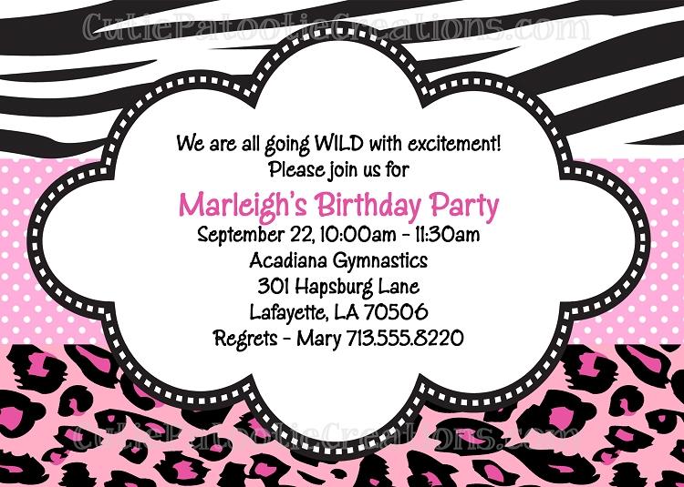 Zebra Leopard Print Birthday Party Invitations