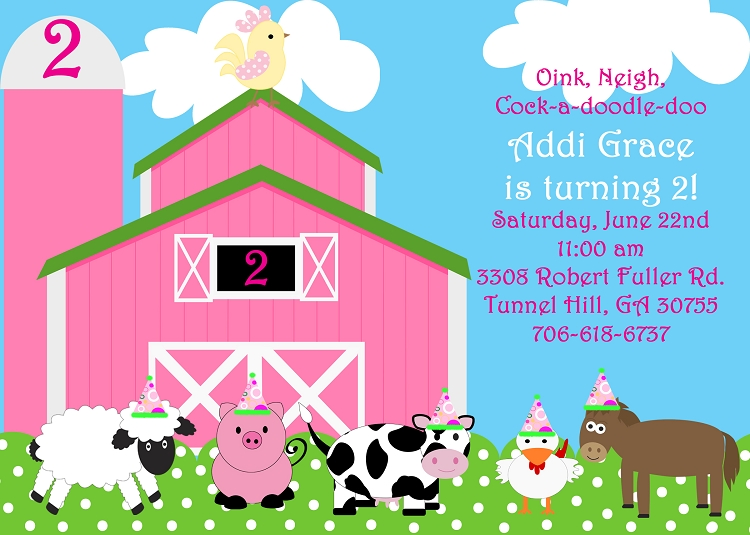 Pink Farm Birthday Invitations