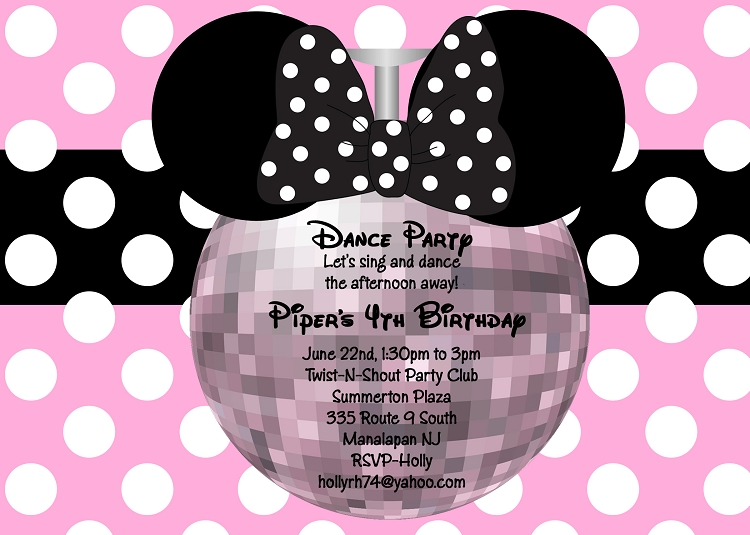 minnie mouse disco dance party invitation in pink printable or printed