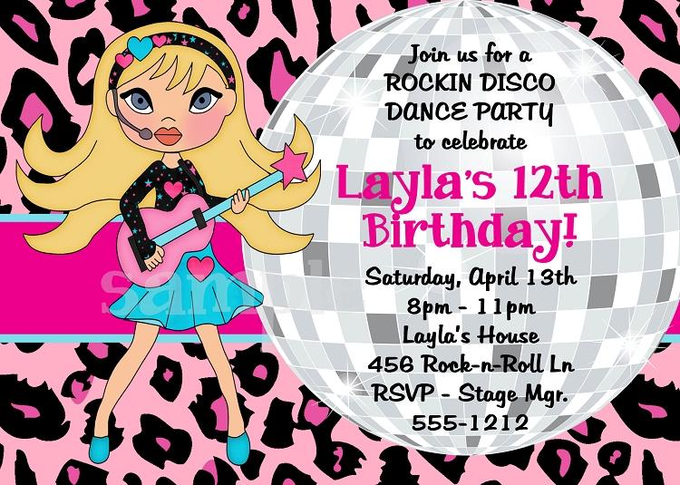 Girls Rockstar Disco Dance Party Birthday Invitations