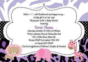 Purple Safari Baby Shower Invitations