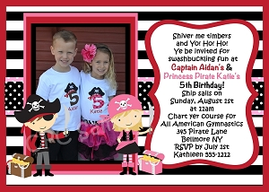 Twins Pirate Birthday Invitation, Printable or Printed Party Invite