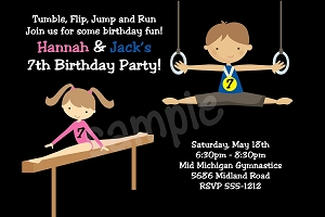 Twin Boy and Girl Gymnastics Birthday Party Invitations or Invites - Printable or Printed