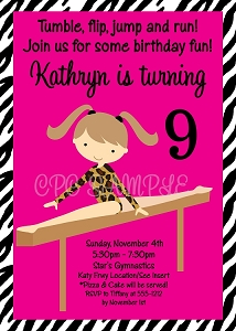 Zebra Print Gymnastics Birthday Invitations - Printable or Printed