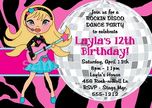 Girls Rockstar Disco Dance Party Birthday Invitations - Printable or Printed