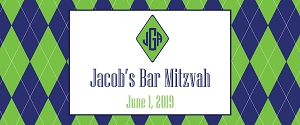 Blue and Green Argyle Vinyl Banner for Mitzvahs, Weddings and Baby Shower