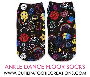 Hippie Theme Mitzvah Socks with Rainbows and Peace Signs - Ankle No Show