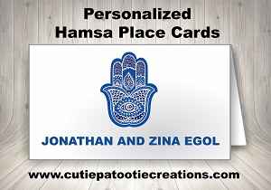 Personalized Blue Hamsa Place Cards for Mitzvahs, Weddings and Sweet 16's