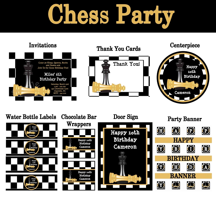 Chess Birthday Party Invitations